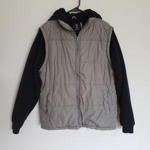 Vertical Sport Sweatshirt Mens L Grey Sherpa Fleec